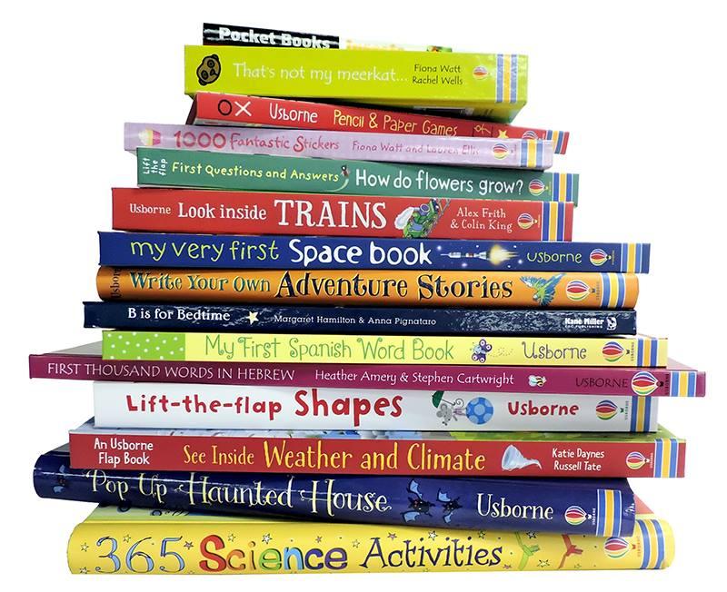 stack of usborne books