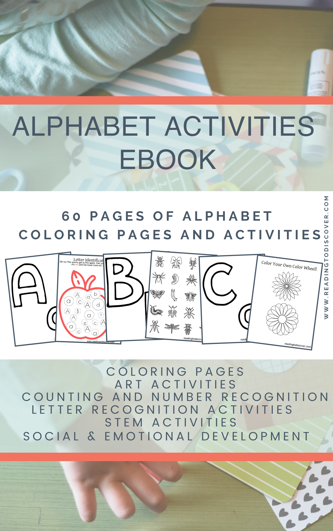Printable Alphabet Activities for preschoolers or kindergartners. These free printable sheets for preschoolers are full of hands-on preschool crafts and activity ideas. This free alphabet activities ebook is available now! Repin then visit www.readingtodiscover.com/alphabet_ebook to download your copy.