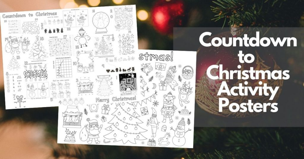 countdown to christmas activity posters for kids